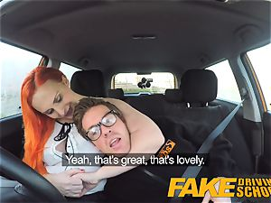 faux Driving school tattooed ginger-haired hungers a immense manhood