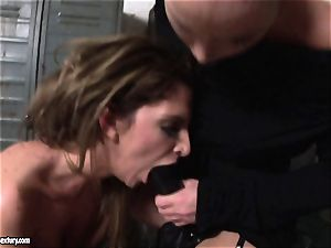 Kathia Nobili lets a steamy doll deepthroat her cord on