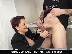 casting ALLA ITALIANA Mature ginger-haired arse nailed deep
