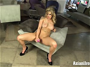 ash-blonde bombshell fuck sticks her wet snatch and finishes off rock hard
