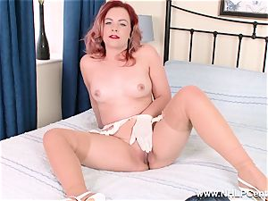 Retro stunner undresses off her white panties for fuckbox have fun