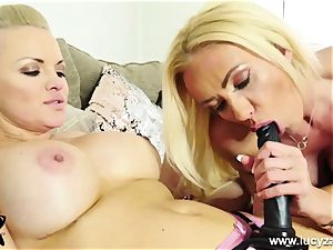 wild platinum-blonde rails ginormous strap-on then gets plowed by magic wand