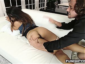 youthful Latina secretary disciplined by her rich manager