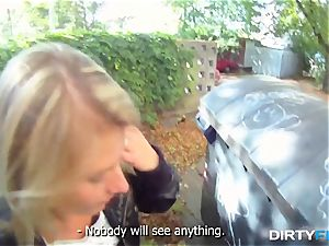 sloppy Flix - blond bombshell tricked into outdoor fuck-fest