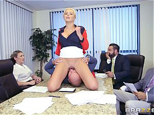 stringent huge-titted chief Nina Elle exploits its workers during a meeting