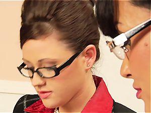 Lisa Ann teasing her coworker's unshaved coochie