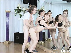 Sofia Like, Alex Blake and Maddie Winters Yoga freak prick railing