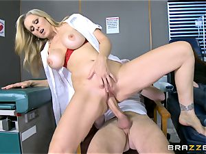 light-haired mummy Julia Ann fellates a gigantic dick as his colleague sleeps