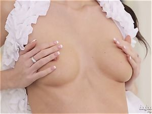 naughty brunettes Lexi Dona and Evelyn Neill unwrapping off her fabulous clothes